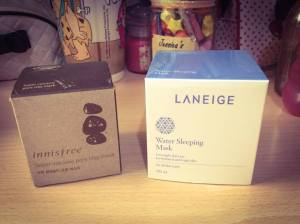 Innisfree pore mask and Laneige water sleeping mask